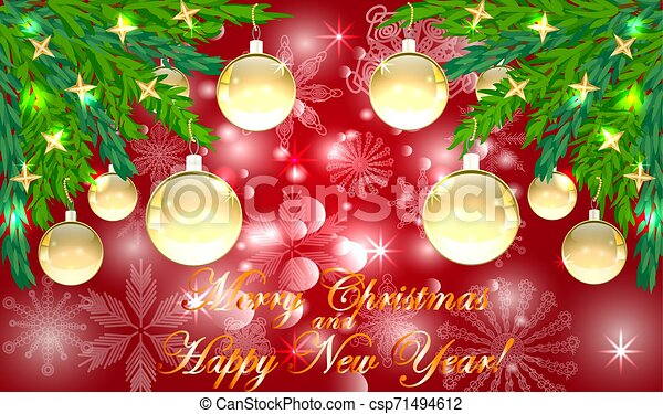 Rectangle red Christmas background with snowflakes, coniferous branches in the corners, decorated with golden balls, stars. The inscription of Merry Christmas and a Happy New Year - csp71494612