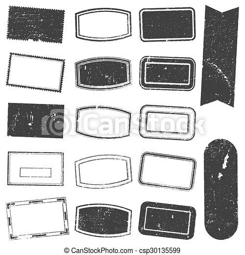 Rectangle Stamp Set Grunge - csp30135599