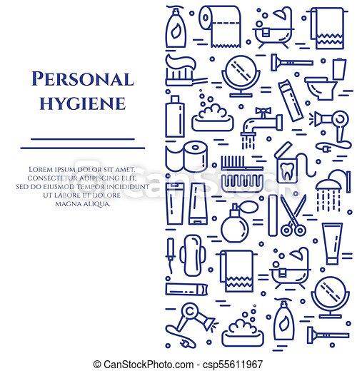 Estandarte de higiene personal con iconos de línea con un toque editable en forma de rectángulo vertical. - csp55611967