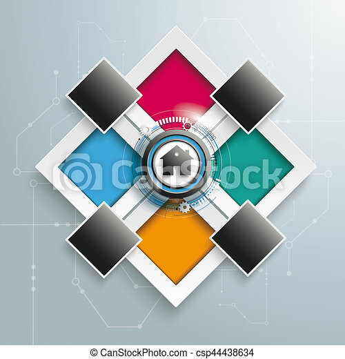 Rectangles Template 4 Options 4 Additions House Centre - csp44438634
