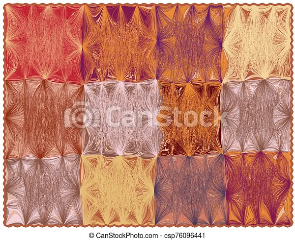 Rectangular carpet with grunge striped wavy colorful square elements and fringe - csp76096441