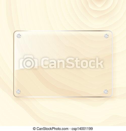 rectangular glass plate on wood background - csp14001199