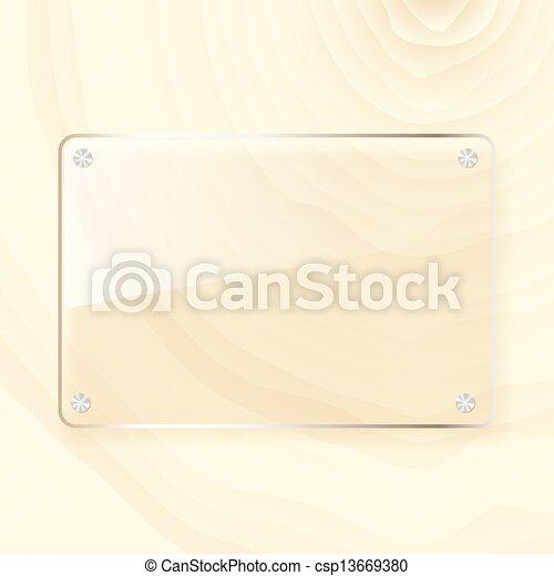 rectangular glass plate on wood background - csp13669380