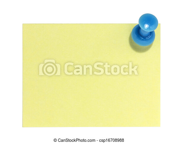 Rectangular postit with blue pin - csp16708988