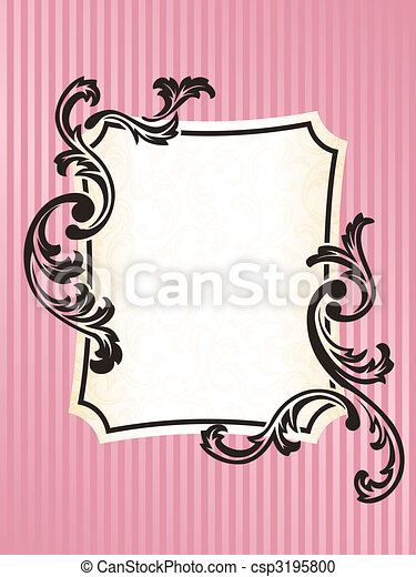 Rectangular Romantic French retro frame in pink - csp3195800