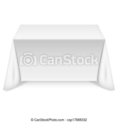 Rectangular table with white tablecloth - csp17688332