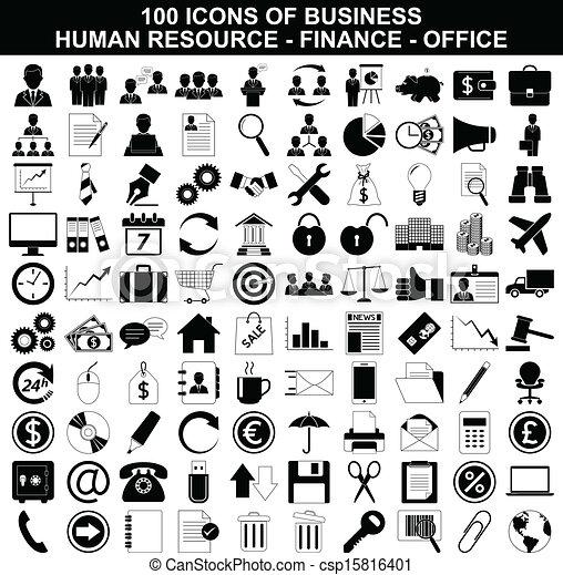 Iconos de negocios, recursos humanos, finanzas y oficinas - csp15816401