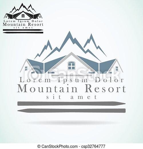 Logotipo de vector de montaña - csp32764777