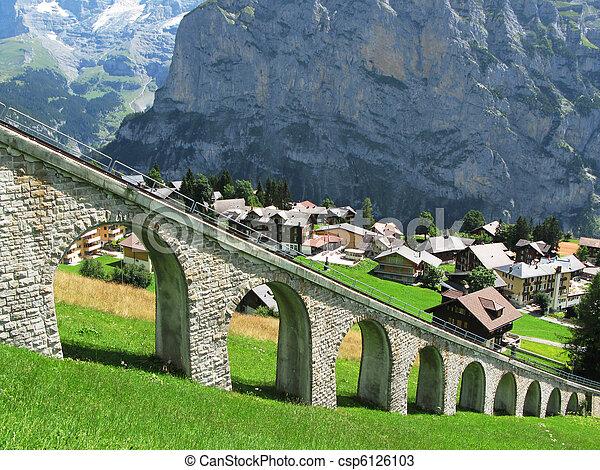 La carretera de montaña en Muerren, famosa estación de esquí suiza - csp6126103