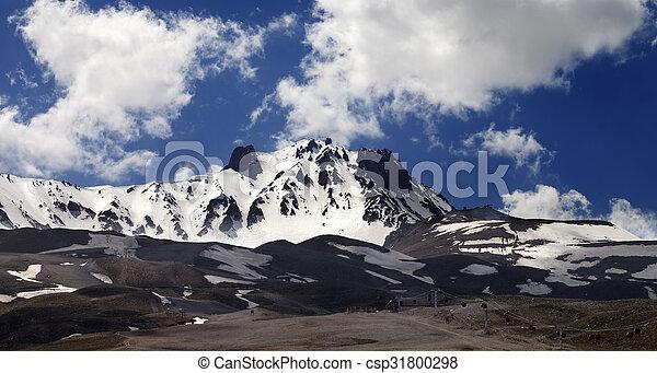 recurso, vista panoramic, esqui, primavera - csp31800298