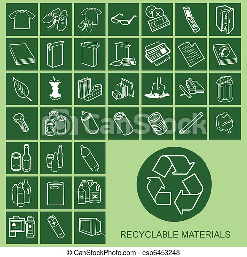 Recyclable Material Icons  - csp6453248