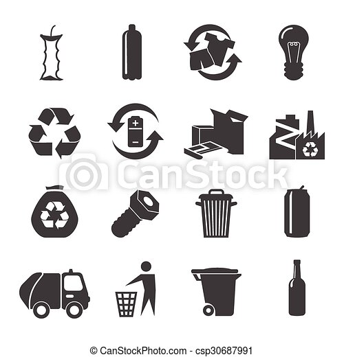 Recyclable Materials Icons Set  - csp30687991