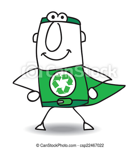 recyclage, superhero, dos, venir - csp22467022