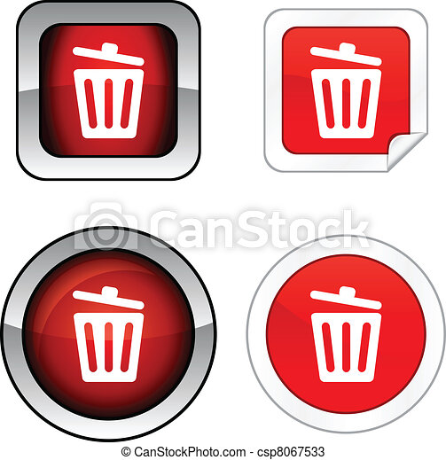 Recycle bin.  button set. - csp8067533