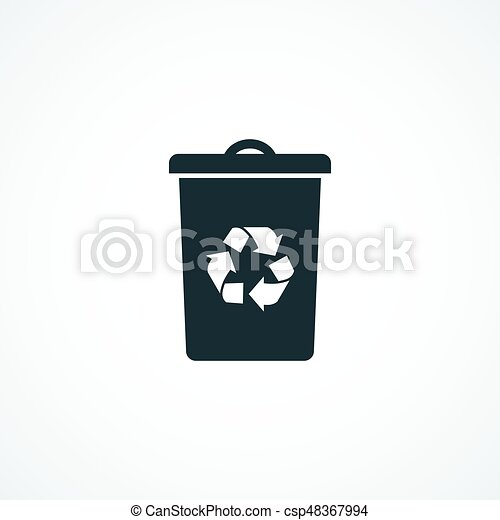 Recycle Bin Icon On White Background