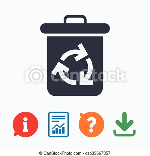 Recycle Bin Icon Reuse Or Reduce Symbol Information Think Bubble