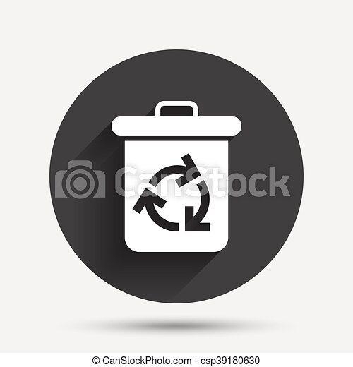 Recycle Bin Icon Reuse Or Reduce Symbol Circle Flat Button With