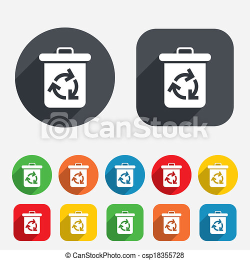 Recycle Bin Icon Reuse Or Reduce Symbol Circles And Rounded