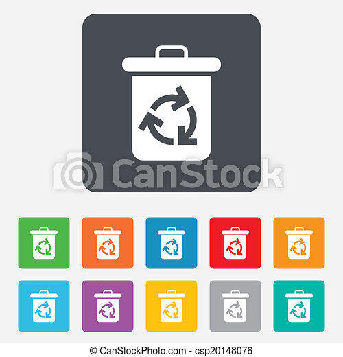 Recycle Bin Icon Reuse Or Reduce Symbol Rounded Squares 11 Buttons