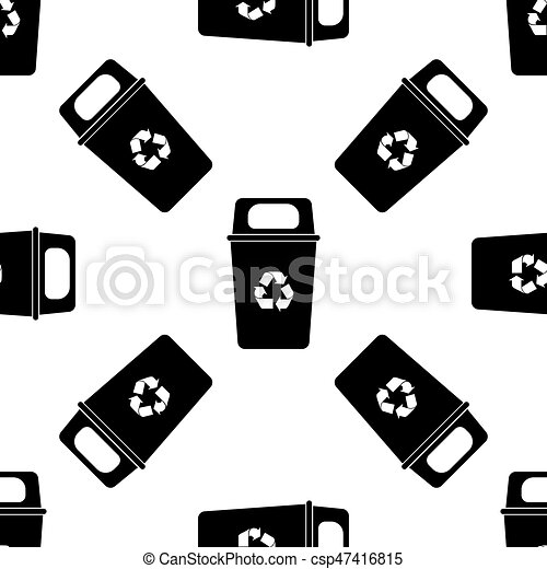Recycle Bin Icon Seamless Pattern On White Background Vector