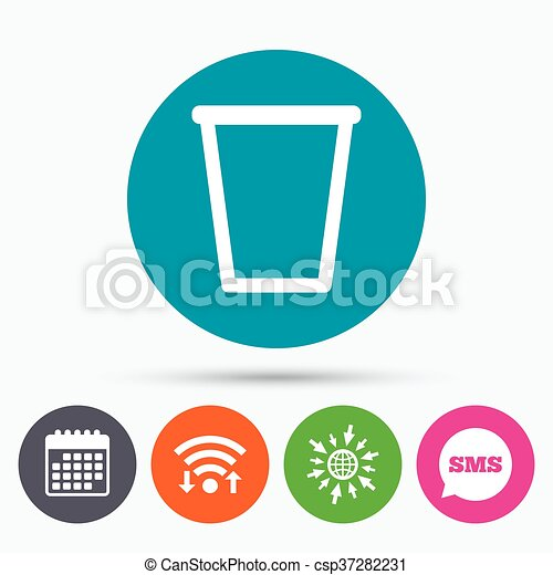 Wifi Sms And Calendar Icons Recycle Bin Sign Icon Bin Symbol Go