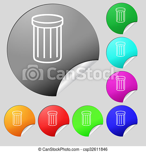 Recycle Bin Sign Icon Symbol Set Of Eight Multi Colored Round