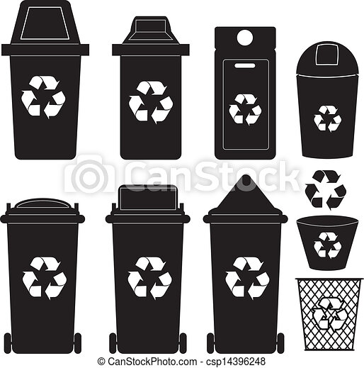 recycle bin silhouette vector the collection of recycle bins