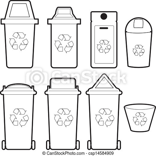 recycle bin vector the collection of recycle bins isolate on white