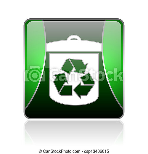 recycle black and green square web glossy icon - csp13406015