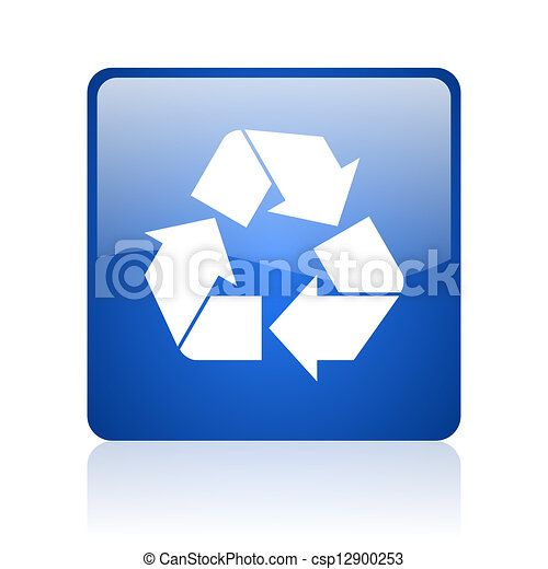recycle blue square glossy web icon on white background - csp12900253