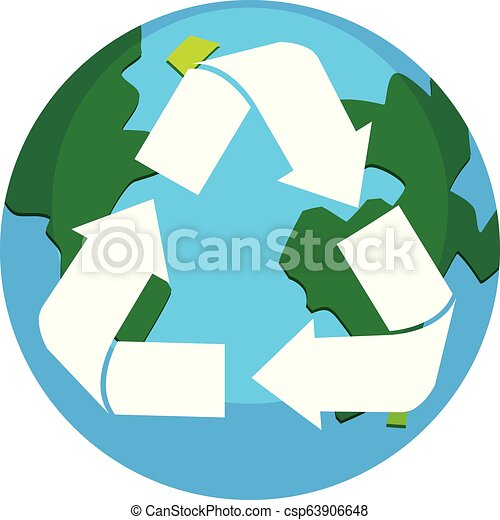 Recycle earth logo on white background - csp63906648