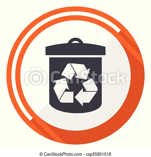 Recycle flat design vector web icon. Round orange internet button isolated on white background. - csp55951518