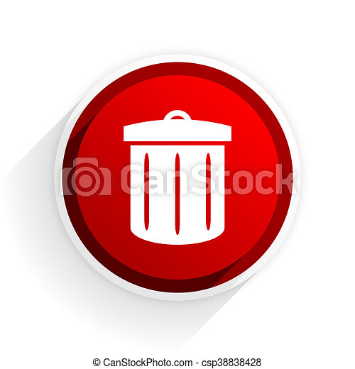 recycle flat icon with shadow on white background, red modern design web element - csp38838428