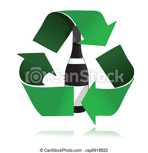 recycle glass bottle icon  - csp6918822