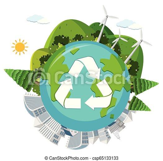 Recycle globe on white background - csp65133133