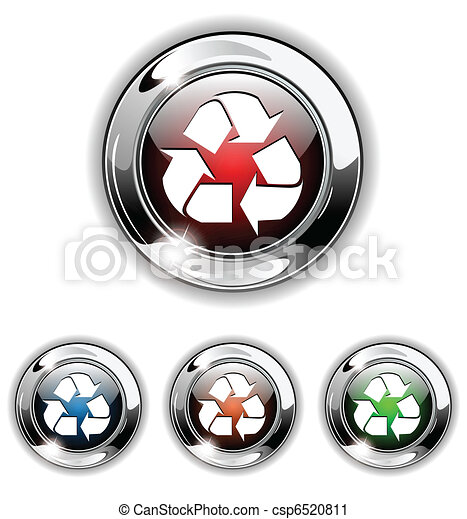 Recycle icon, button, vector illust - csp6520811