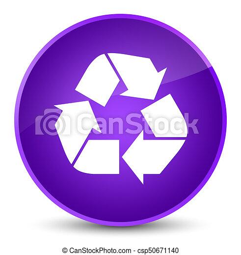 Recycle icon elegant purple round button - csp50671140