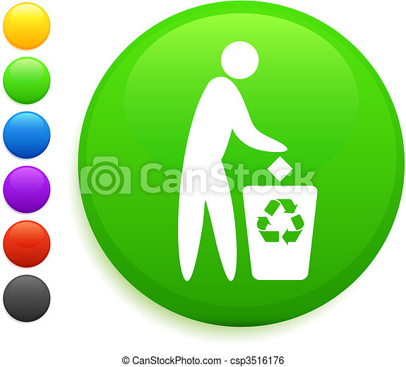 recycle icon on round internet button - csp3516176