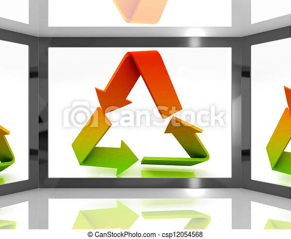Recycle Icon On Screen Shows Environment Conservation - csp12054568