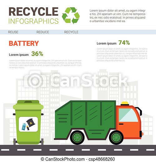 Recycle Infographic Banner Waste Truck Transportation Sorting Garbage Concept - csp48668260
