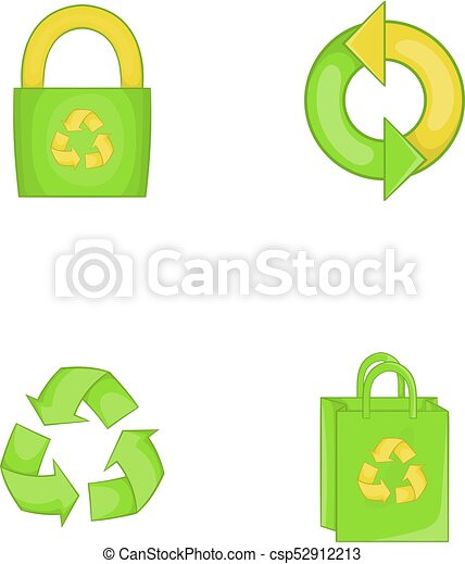Recycle material icon set, cartoon style - csp52912213