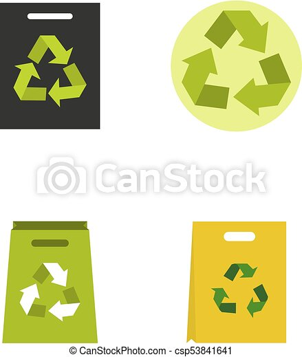 Recycle material icon set, flat style - csp53841641