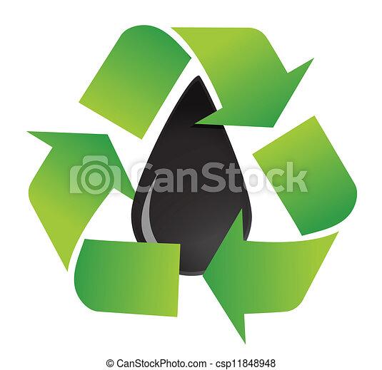 Recycle Oil Symbol Illustration Design Over A White Background Design