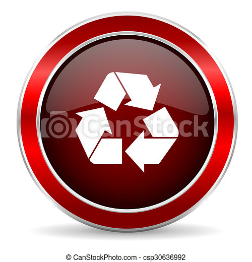 recycle red circle glossy web icon, round button with metallic border - csp30636992