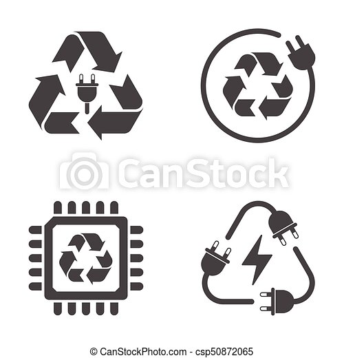 Recycle sign, e-waste garbage icons on white background - csp50872065