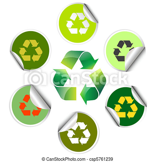 Recycle Stickers Icons Eps Vectors Search Clip Art Illustration