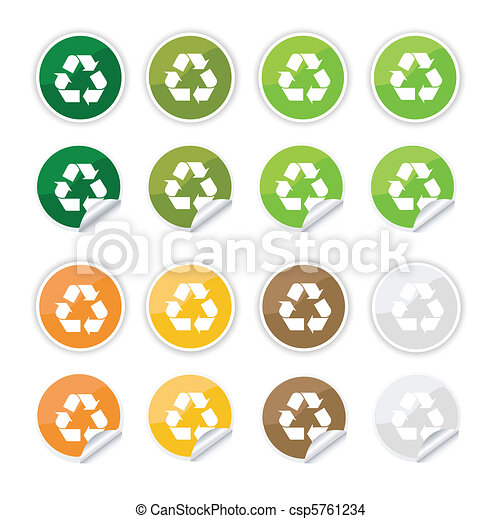 Recycle Stickers Icons Eps Vector Search Clip Art Illustration