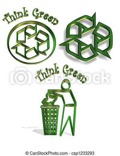 Recycle Symbol 3 Icons Illustrated 3d Symbols Or Icons For Recycling