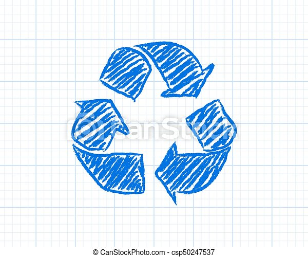 recycle symbol graph paper recycled symbol drawn on graph paper