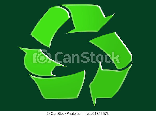 Recycle Symbol Green Recycle Symbol On Dark Green Background